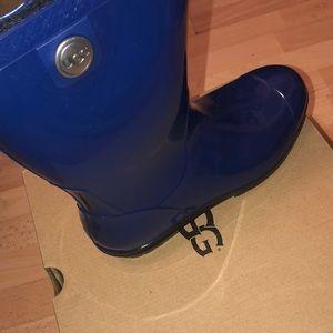 Blue rubber rain boots